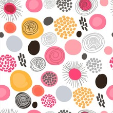 Seamless Pattern Of Bright Circles And Texture On A White Background. A Set Of Purple, Pink, Orange Spots, Gray Stripes, White Spots. Illustration For Decoration.