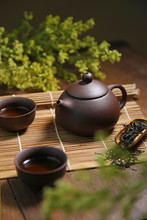 Chinese Puple Clay Teapot And Cups