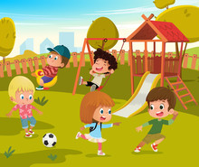 Baby Playground Summer Park Vector Illustration. Children Play Football And Swing Outdoor In School Yard Kindergarten. Little Child Game In Nature. Boy And Girl Cartoon Character Activity Concept