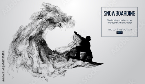 Fotografía  Abstract silhouette of a snowboarder jumping isolated on white background from particles