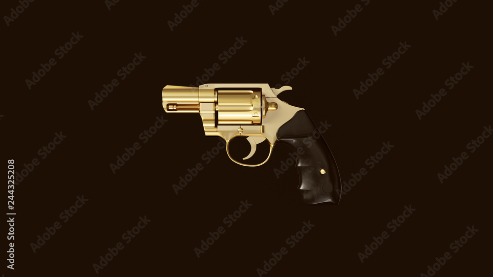 Fototapeta Gold an Black Snub Nosed Pistol 3d Illustration 3d Rendering