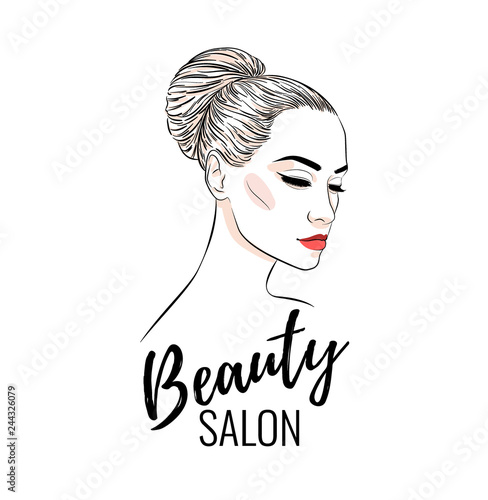 Beautiful Woman With Bun Hairstyle Beauty Salon Banner Or Poster Design Vector Illustration Line Sketch Style Buy This Stock Vector And Explore Similar Vectors At Adobe Stock Adobe Stock