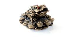 Feng Shui Symbol. Three Legged Toad Isolated On White Background