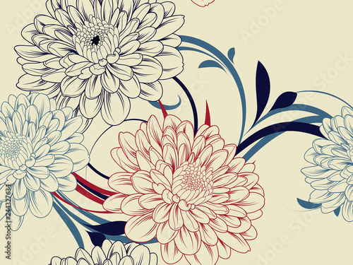 Seamless abstract pattern with chrysanthemum flowers. Fototapete