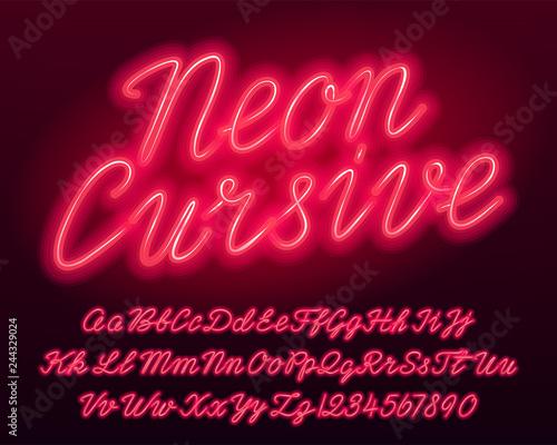 Fotografía  Neon cursive alphabet font