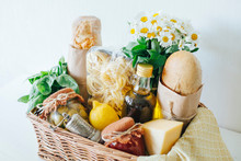 Italian Food Basket With Bread...