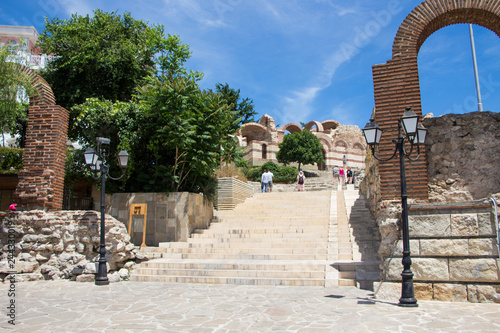 Fotografia  Old street and ancient building in Nessebar. Bulgaria