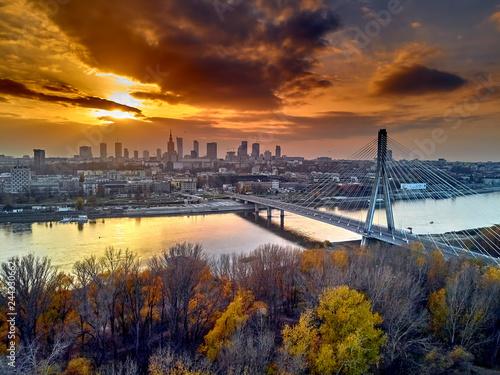 Fototapeta Beautiful panoramic aerial dsron view to Swietokrzyski Bridge (Polish: most Świętokrzyski, English: Holy Cross Bridge) - is a bridge over the Vistula river in Warsaw, Poland, from dron DJI Mavic Air obraz