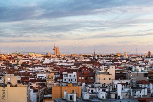 Madrid skyline at dusk