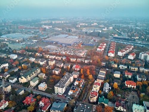 Fototapeta Beautiful panoramic aerial drone view to the Włochy district, Warsaw, Poland obraz