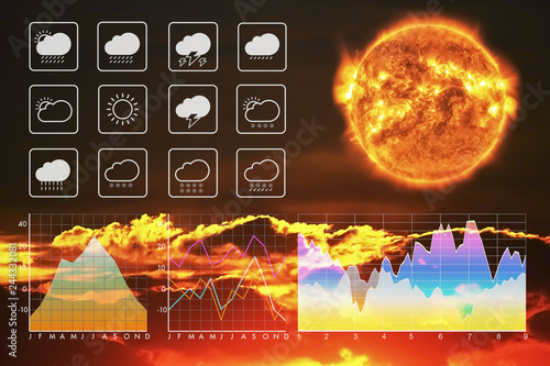 Weather forecast symbol data presentation with graph and chart on climate change with sun and sunset cloud background.