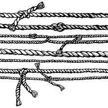Hand Drawn Vector Illustration Of Ropes And Knots. Sketch Style