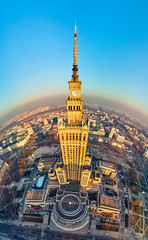 FototapetaWARSAW, POLAND - DECEMBER 01, 2018: Beautiful panoramic aerial drone view to the center of Warsaw City and Palace of Culture and Science - a notable high-rise building in Warsaw, Poland