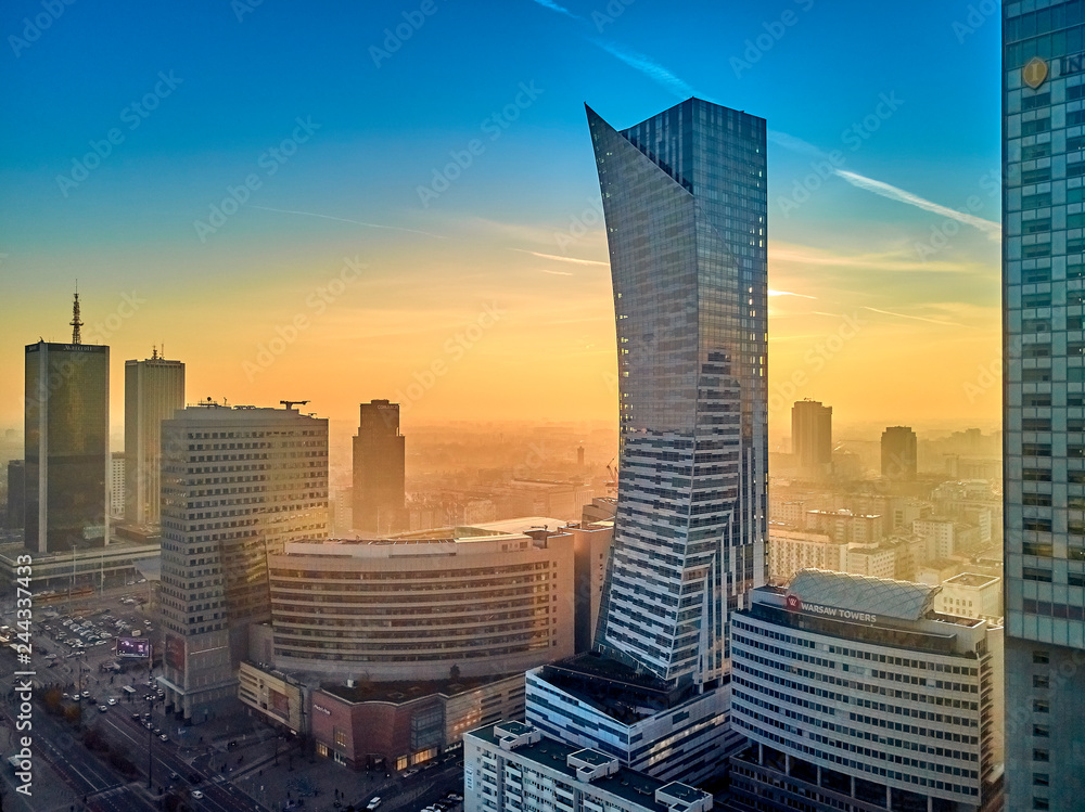 Fototapety, obrazy: WARSAW, POLAND - DECEMBER 01, 2018: Beautiful panoramic aerial drone view to the center of Warsaw City and