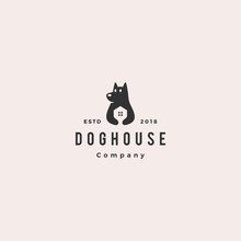 Dog House Pet Home Logo Hipster Retro Vintage Vector Icon Illustration