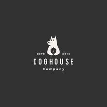 Dog House Pet Home Logo Hipste...