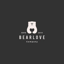 Bear Love Logo Hipster Retro V...
