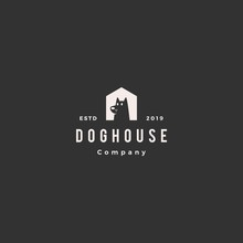 Dog House Pet Home Logo Hipste...