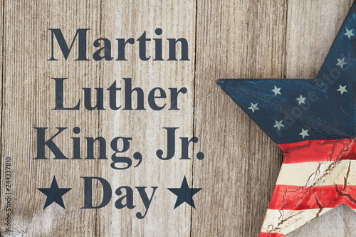 Photo  Martin Luther King Day message with retro USA star