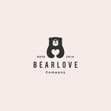 Bear Love Logo Hipster Retro Vintage Vector Icon Illustration