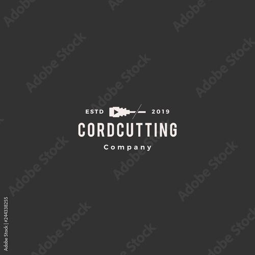 Fotografía  cordcutting logo hipster tv cable vector icon illustration