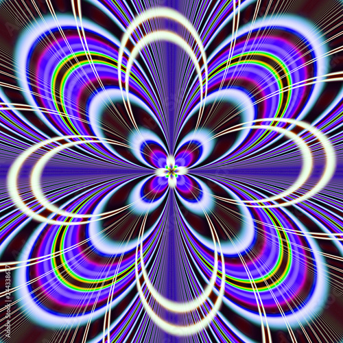 Poster Psychedelic Abstract fractal background.Abstract painting multicolor texture.Motion holiday background.Modern multicolor futuristic dynamic pattern.Fractal 3d artwork creative graphic design.
