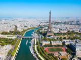 Fototapeta Fototapety z wieżą Eiffla - Eiffel Tower aerial view, Paris