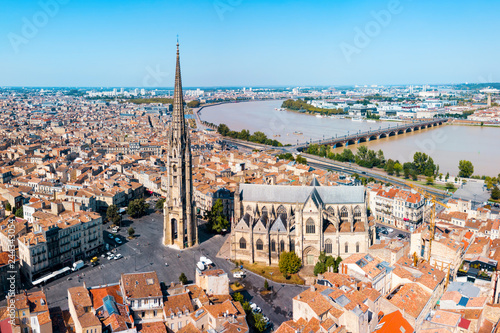 Spoed Fotobehang Europa Bordeaux aerial panoramic view, France