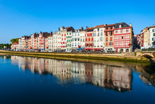 Colorful Houses In Bayonne, Fr...