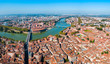 Leinwanddruck Bild - Toulouse aerial panoramic view, France
