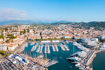 Cannes aerial panoramic view, France