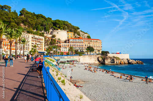 Fotobehang Nice Plage Blue Beach in Nice, France