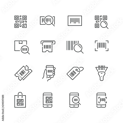Valokuva  Qr code related icons: thin vector icon set, black and white kit