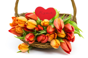 tulips and heart in a basket