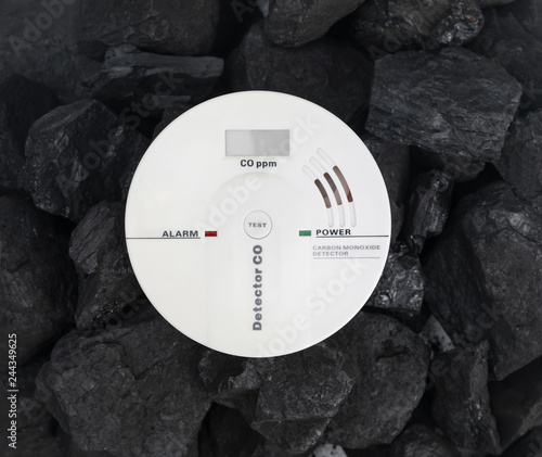 carbon monoxide detector on the background of coal Tapéta, Fotótapéta