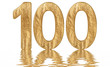 Leinwanddruck Bild - Numeral 100, one hundred, reflected on the water surface, isolated on  white, 3d render