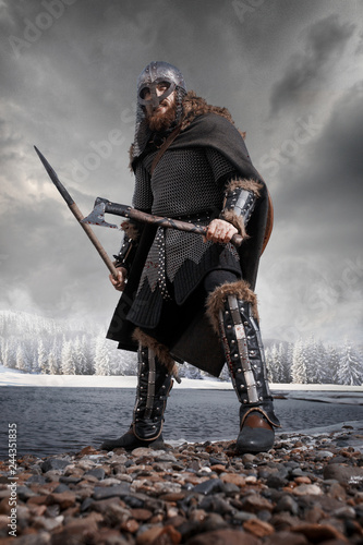 Medieval Scandinavian warrior Viking in full outfit on shore of winter sea Wallpaper Mural