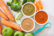 Baby Food. Various Bowls Of Fruit And Vegetable Puree, Top View