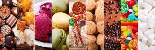 collage of various types sweets products