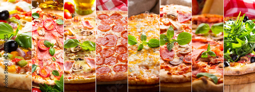 Photo collage of various types of pizza