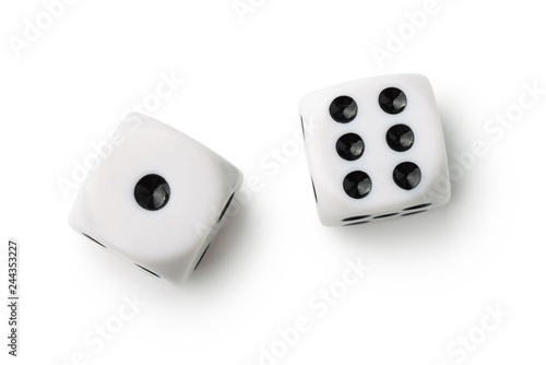 Top view of two white dices Fototapeta