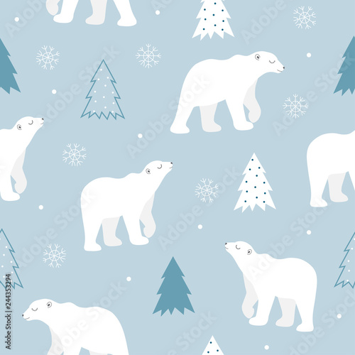 fototapeta na drzwi i meble seamless pattern of cute polar bear.