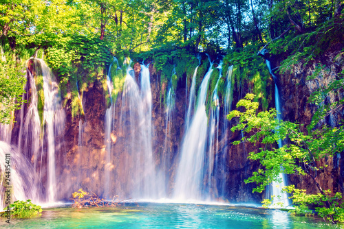 Magical beautiful, breathtaking scenic scenery with waterfalls in the national reserve in Plitvice, Croatia. Charming places. © anko_ter