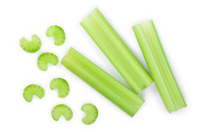 Fresh Celery Isolated On White Background.Top View. Flat Lay