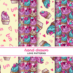 set of hand drawn love objects pattern with cupcakes and  heart