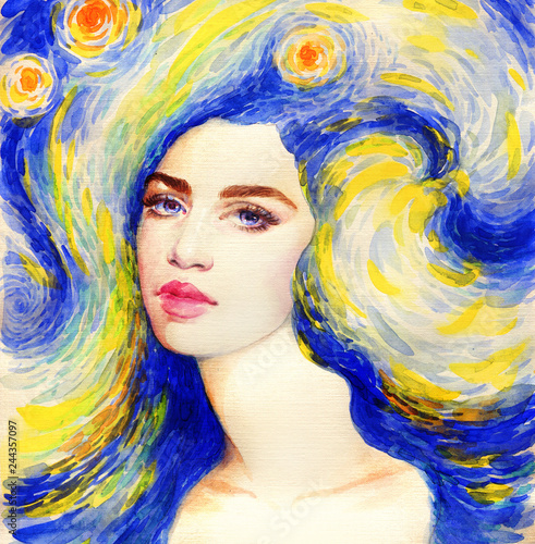 starry night. beautiful woman. fantasy illustration. watercolor painting