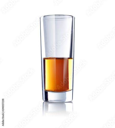 a glass of whiskey isolated on white