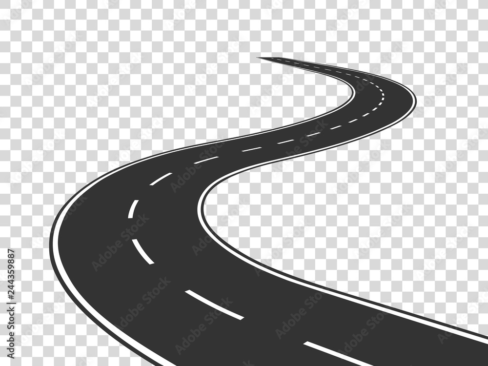 Fototapeta Winding road. Journey traffic curved highway. Road to horizon in perspective. Winding asphalt empty line isolated vector concept