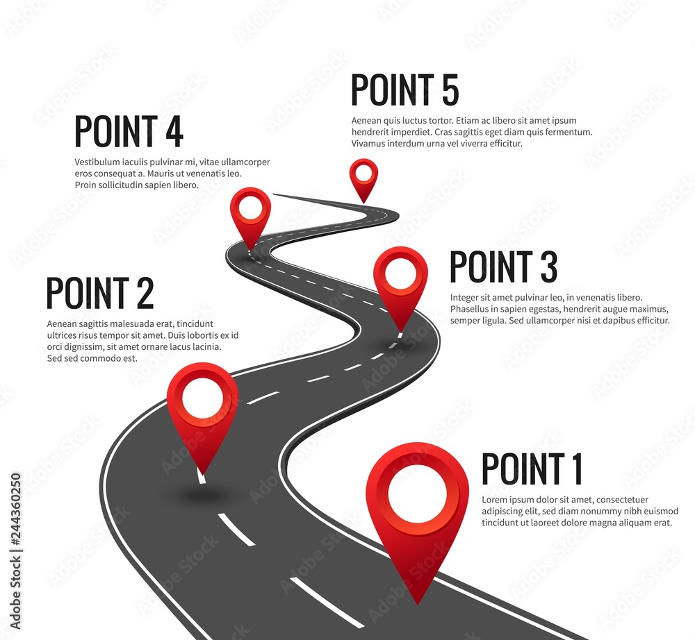 Fototapeta Road infographic. Curved road timeline with red pins checkpoint. Strategy journey highway with milestones vector concept