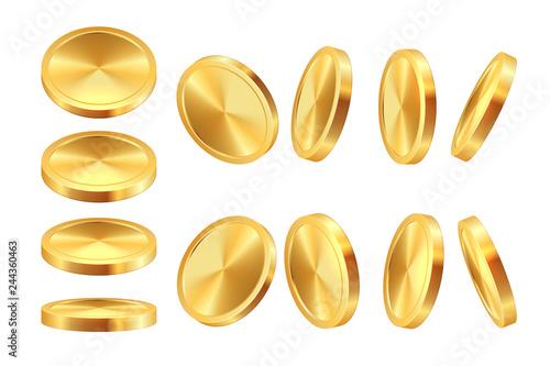 Fototapeta Golden coin animation. Realistic money casino currency golden dollar coins game coins template. Vector 3D cash jackpot obraz